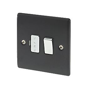 British General 13A 1-Gang Switched Fused Connection Unit Matt Black
