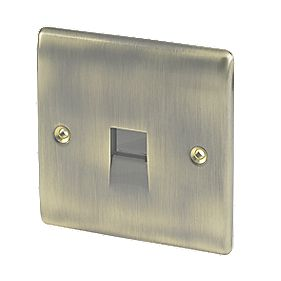 British General 1-Gang Telephone Master Socket Antique Brass