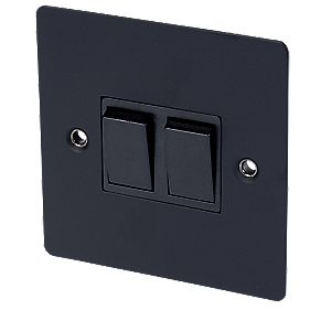 Volex 10A 2-Gang 2-Way Switch Blk Ins Matt Black Flat Plate