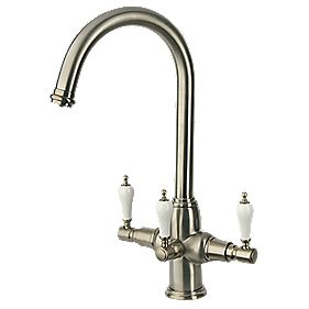 Brita Kelda 3-Way Sink-Mounted Mono Mixer Kitchen Filter Tap Brushed Nickel