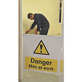"""Danger Men At Work"" Door Barrier Banner 760 x 760-1030mm"
