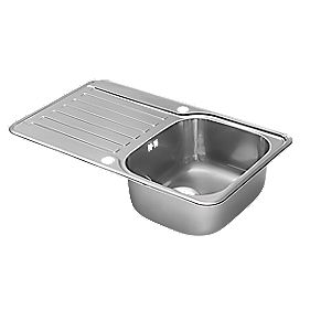 Pyramis Space Kitchen Sink Stainless Steel 1 Bowl & Drainer 800 x 490mm