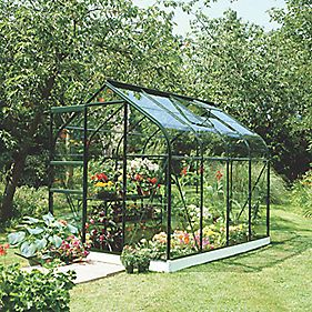 "Halls Supreme 86 Aluminium Greenhouse Green Toughened Glass 6'4"" x 8'5"""