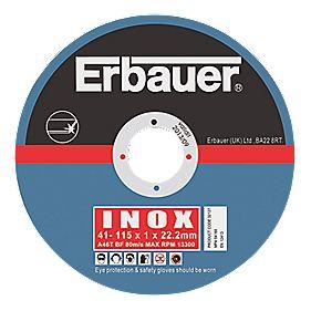 Erbauer Cutting Discs 115 x 1 x 22.23mm Pack of 5
