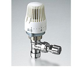 Angled Thermostatic Radiator Valve White & Chrome 15mm