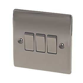 British General 3-Gang 2-Way 10AX Light Switch Black Nickel