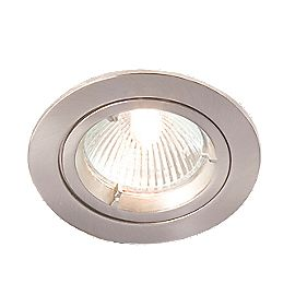 Robus Fixed Round Mains Voltage Downlight Brushed Chrome 240V Pack of 10