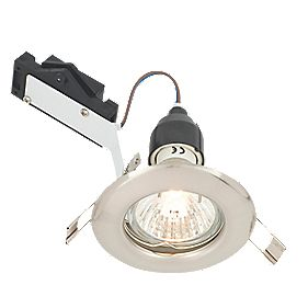 LAP Fixed Round Mains Voltage Downlight Brushed Chrome Effect 240V