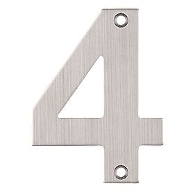 Eclipse Door Numeral 4 Satin Stainless Steel
