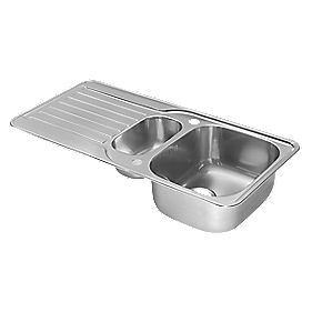 Pyramis Space Kitchen Sink Stainless Steel 1½ Bowl & Drainer 960 x 480mm