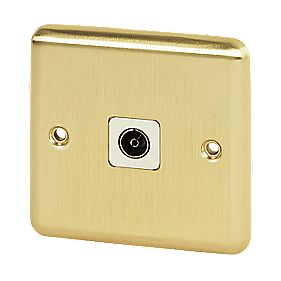 Volex TV Socket Wht Ins Brushed Brass Round Edge