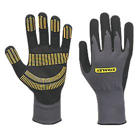 Stanley Secure Handling Razor Tread Gripper Gloves Grey Large