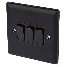 Volex 10A 3-Gang 2-Way Switch Blk Ins Matt Black Angled Edge