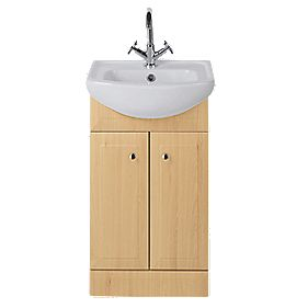 Vanity Bathroom Basin Unit Beech 414mm