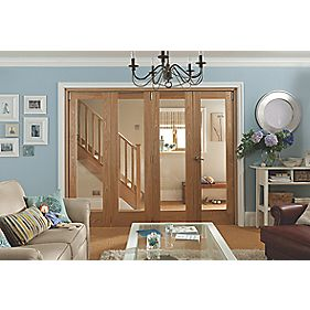 Jeld-Wen Single-Light 4-Door Internal Room Divider Oak Veneer 2552 x 2044mm