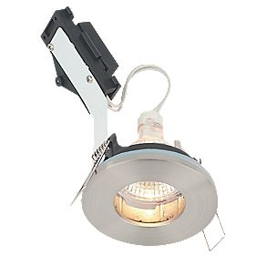 LAP Fixed Round Low Voltage Bathroom Downlight Brushed Chrome Effect 12V