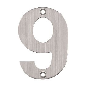 Eclipse Door Numeral No. 9 Satin Stainless Steel 102mm
