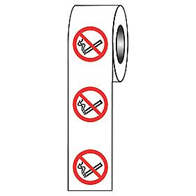 No Smoking Symbol Adhesive Labels 40mm Roll of 250