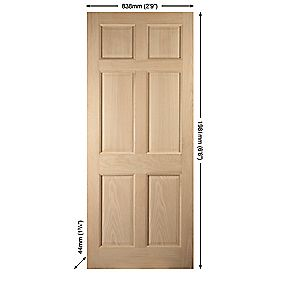 Jeld-Wen Colonial 6-Panel Exterior Door Oak Veneer 838 x 1981mm