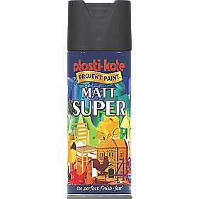 Plasti-Kote Super Multipurpose Spray Paint Matt Black 400ml