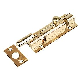 Necked Door Bolt Polished Brass 102mm