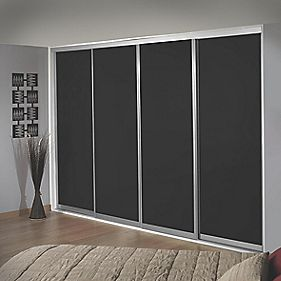 Sliding Wardrobe Doors Silver Frame Black Glass Panel 4-Door 2943 x 2330mm