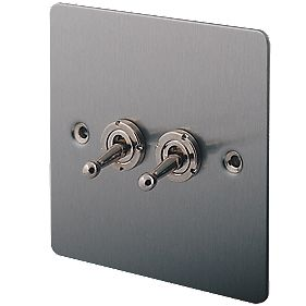 LAP 2-Gang 2-Way 10AX Toggle Switch Brushed Stainless Steel