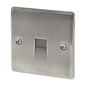 British General 1-Gang Telephone Slave Socket Brushed Iridium