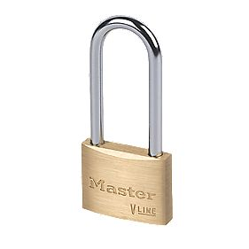 Master Lock Long Shackle Brass Padlock 50mm