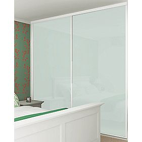 Sliding Wardrobe Doors White Frame White Glass Panel 2-Door 1485 x 2330mm