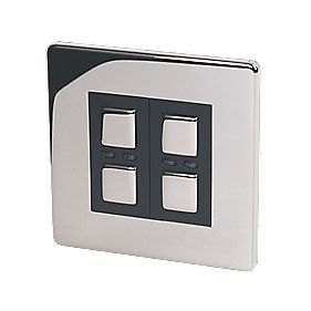 2-Gang 1-Way Dimmer Switch Chrome 250W