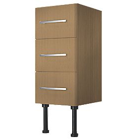 Bathroom Base Unit 3-Drawer Oak Effect 300 x 320 x 600mm