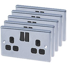 LAP 13A 2-Gang DP Switched Plug Socket Brushed Stainless Steel Pack of 5