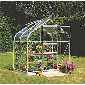 Halls Supreme 46 Aluminium Greenhouse Toughened Glass 6' 3 x 4' 3 x