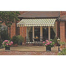 Greenhurst Extendable Patio Awning Yellow / Grey 2.5 x 2m