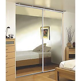 Sliding Wardrobe Doors White Frame Mirror Panel 2-Door 1485 x 2330mm