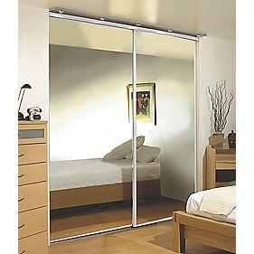 2 Door Wardrobe Doors White Frame Mirror Panel 1480 x 2330mm