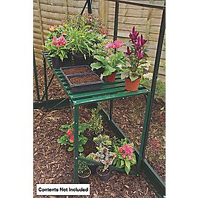 "Halls Greenhouse 1-Tier Staging Green Aluminium 3'6"" x 1'7"" x 2'4"""