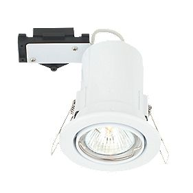 LAP Adjustable Round Mains Voltage Fire Rated Downlight Gloss White 240V