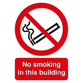 """No Smoking In This Building"" Sign 200 x 150mm"