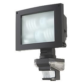 Energy Saving PIR Floodlight Black 240V 23W 2600Lm