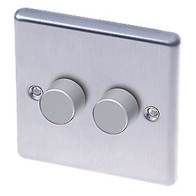 LAP 2-Gang 2-Way Push Dimmer Switch 400W/250VA Brushed Stainless Steel
