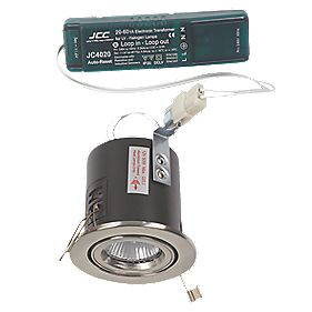 JCC Fireguard Adj. Low Volt Fire Rated Recess Downlight Kit Brsh Chr 12V