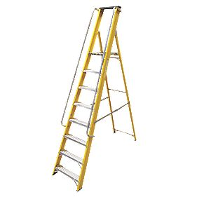 Lyte Platform Ladder with Safety Handrails Aluminium Alloy 8 Treads 2.31m