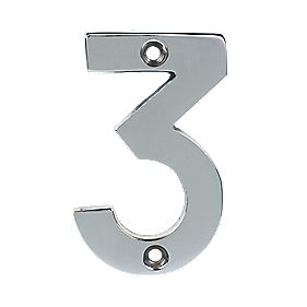 Door Numeral 3 Polished Chrome