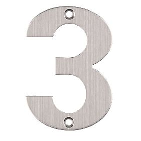 Eclipse Door Numeral No. 3 Satin Stainless Steel 102mm