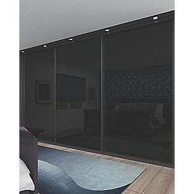 Sliding Wardrobe Doors Black Frame Black Glass Panel 3-Door 2672 x 2330mm