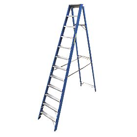 Lyte SFGSL12 Swingback Step Ladder Aluminium & Fibreglass 12-Tread 2.91m