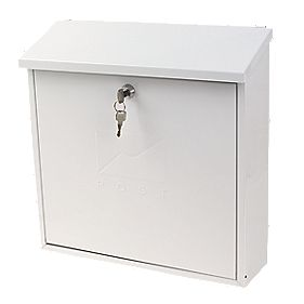 Sterling® Contemporary Post Box White Powder-Coated Steel