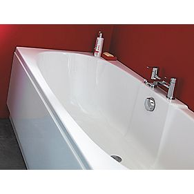 Modern Twin-Ended Bath Acrylic 2 Tap Holes 1690mm